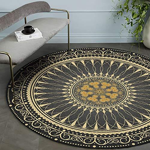 CanaDitan Rutschfester runder Teppich im Retro Boho-Ethno-Stil Schwarzes Gold 120CM