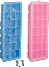 Set of 2 Silicone Ice Cube Trays with Lid Cover – Soft Bottom for One Press Easy Release – 21 Square Shaped Mold Holes – BPA & Odor Free Flexible Rubber - Completely Stackable To Save Freezer Space