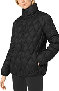 Michael Michael Kors Womens Diamond Quilted Packable Down Jacket Black