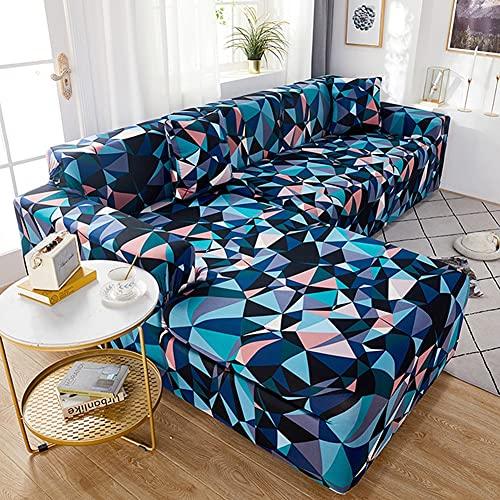 WXQY Funda de sofá geométrica elástica para Sala de Estar, Funda de sofá Antideslizante de Esquina de sección Transversal en Forma de L, Funda de sofá elástica Ajustada A10 1 Plaza