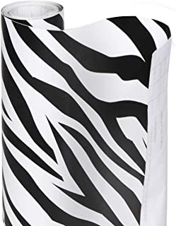 Smart Design Shelf Liner w/Decorative Adhesive - Wipes Clean - Cutable & Removable Material - Easy Peel Design - for Shelves, Drawers, Flat Surfaces - Kitchen (18 Inch x 20 Feet) [Zebra Stripes]