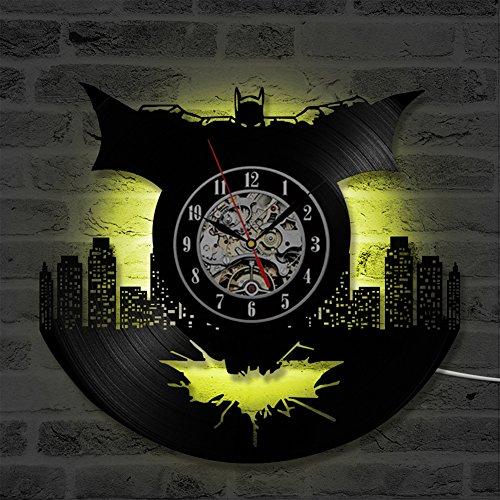 OOFAY Clock@ Batman Wanduhr Aus Vinyl Schallplattenuhr Upcycling LED Familien Dekoration 3D Design-Uhr Wohnzimmer Schlafzimmer Restaurant Wand-Deko Schwarz/Durchmesser 30 cm