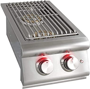 Blaze Premium LTE Built-in Natural Gas Stainless Steel Double Side Burner with Lid - BLZ-SB2LTE-NG