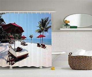 シーサイドデコレーションコレクション、ビーチチェア、傘ヤシの木リゾート砂の夏空画像、ポリエステル生地のバスルームのシャワーカーテン、75インチの長さ、ブルゴーニュ象牙色