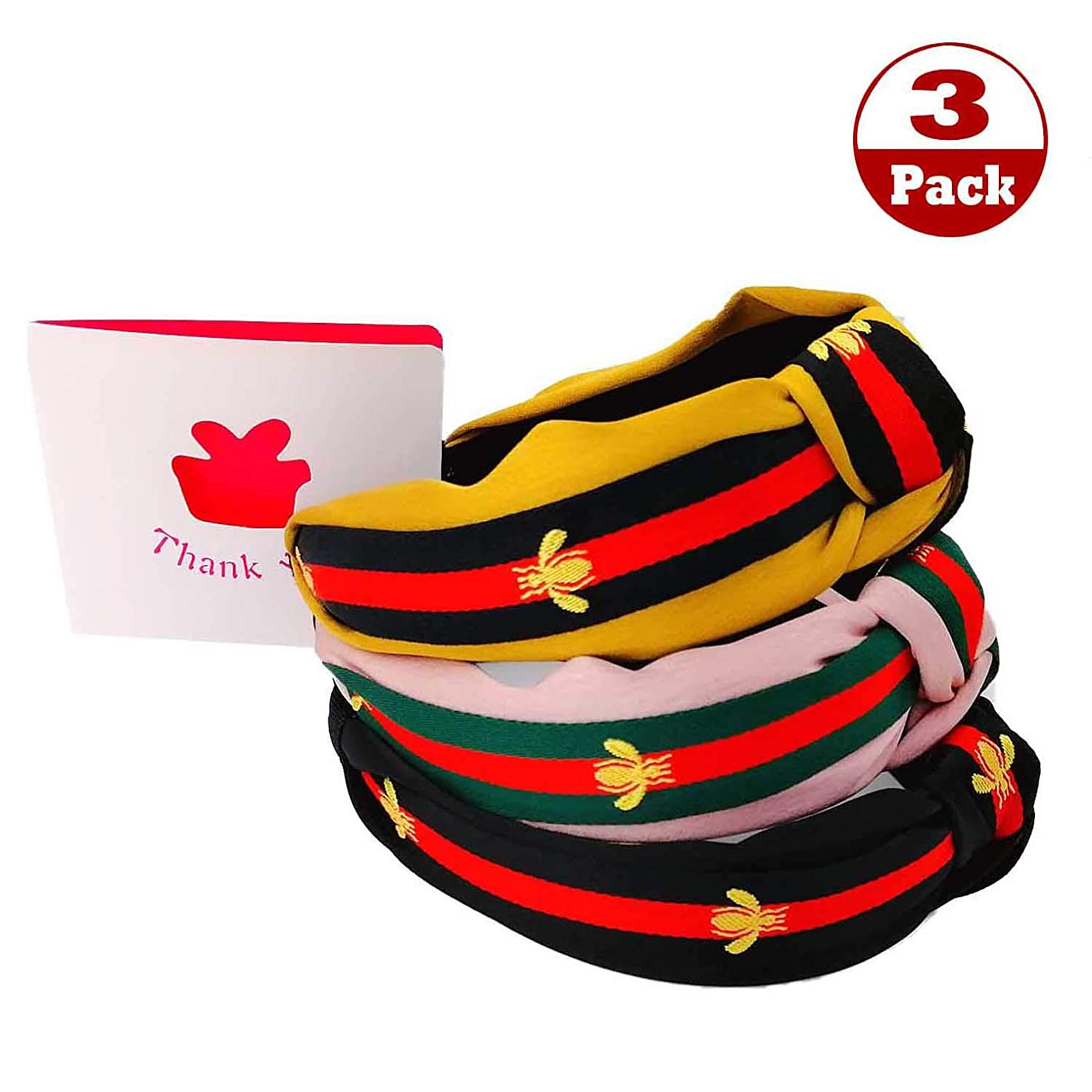 Bee Animal Headband - Ladies red and Green Striped Hair Band, Bohemian Wind Bow Cross Knotted Hair Band, 3Pcs Black Yellow Pink