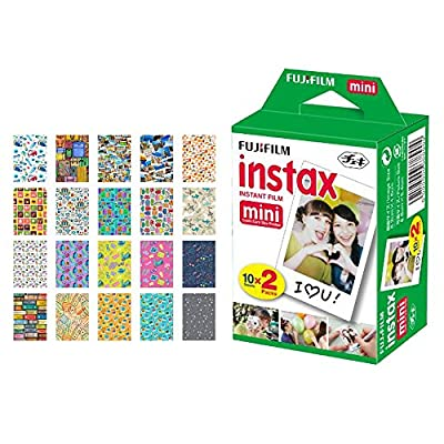 Fujifilm instax Mini Instant Film + 20 Sticker Frames for Fuji Instax Prints Travel Package – Deluxe Bundle by FUJIFILM