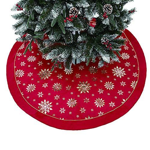 Weihnachtsbaum Decke, Rentier Gedruckt Weihnachtsbaum Rock Dekoration Schneeflocken Weihnachtsbaumdecke Elch Weihnachtsbaum Röcke Weihnachtsschmuck Weihnachtsbaum Deko Weihnachtsdeko (E-Rot, 120cm)