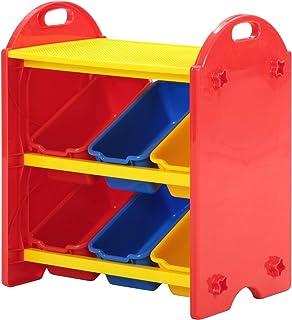 不二貿易 おもちゃ収納 ラック おもちゃ箱 幅55cm カラフル ブロック100ピース付き 70118