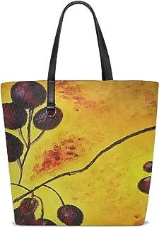 Women Fruit Grapes Fire Canvas Acrylic Purple Nature Handle Satchel Handbags Shoulder Bag Tote Purse Messenger Bags