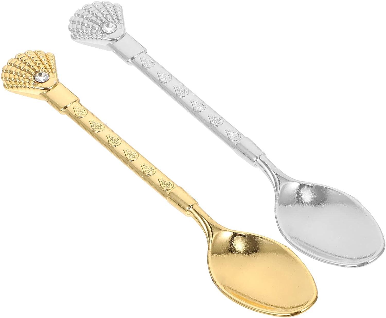 HEMOTON 2pcs Retro Max 65% OFF Coffee Spoons Alloy Crystal Decorative Direct stock discount Spoon