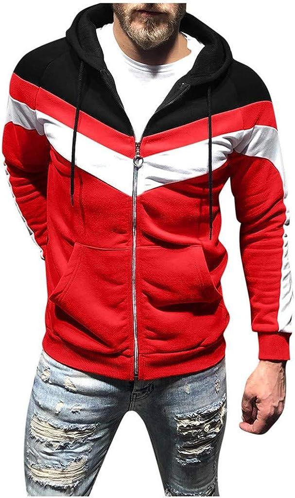 Mens Hoodies Zip Up Autum Winter Jacket with Hoodie Contrast Color Jogging Tops Blouse Zipper Hoodies Sport Coat Outwear