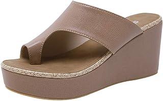77510bf27eba Nouveau Chaussures à Talons CompenséS Toepost pour Femmes Dames Pantoufles  Sandales (Jaune, Noir,