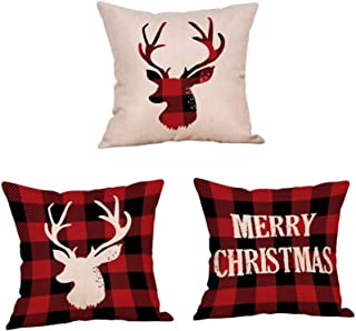 3 Pack Red Black Christmas Scottish Buffalo Checkers Plaid Pillow Cover,Winter Deer,Merry Christmas Quotes Home Decorative Throw Pillow Case Cushion Cover for Sofa Couch 18 x 18 Inch
