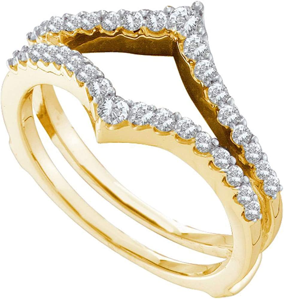 14kt Yellow Gold Womens Round Diamond Ring Guard Wrap Enhancer Wedding Band 1/2 Cttw