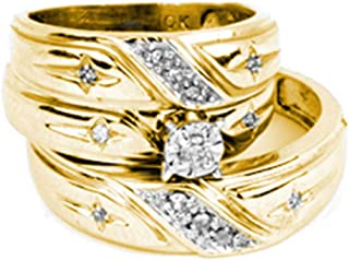 Jewels By Lux 14kt Yellow Gold His & Hers Round Diamond Solitaire Cross Matching Bridal Wedding Ring Band Set 1/5 Cttw In 4 Prong Setting (I2-I3 clarity; J-K color)