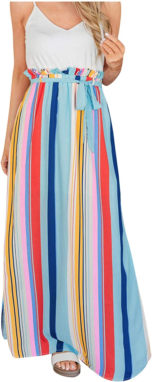 DILYluer Women's Colorful Striped Printed Skirt Split Long Skirt Fashion High Waist Lace-up Skirt Casual Loose Beach Skirt