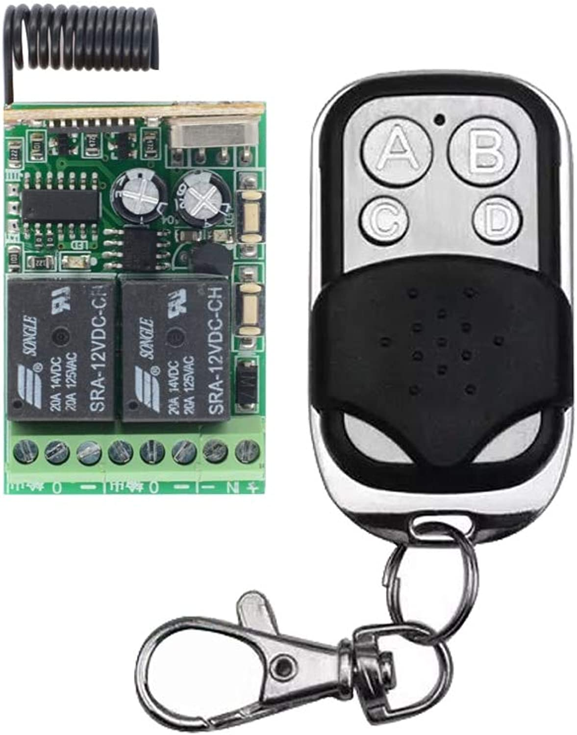 315Mhz 433Mhz Universal Wireless Remote Control Switch DC 12V 2CH Mini Relay Receiver Module and 1pcs RF Transmitter  (color  Toggle)