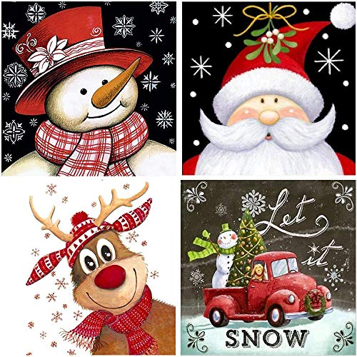4 Pack 5D Diamond Painting Kits for Adults Kids, Christmas Snowman Santa Claus Full Drill Diamond Embroidery Big Size Art Craft for Home Wall Decor(Christmas Diamond Paintings)