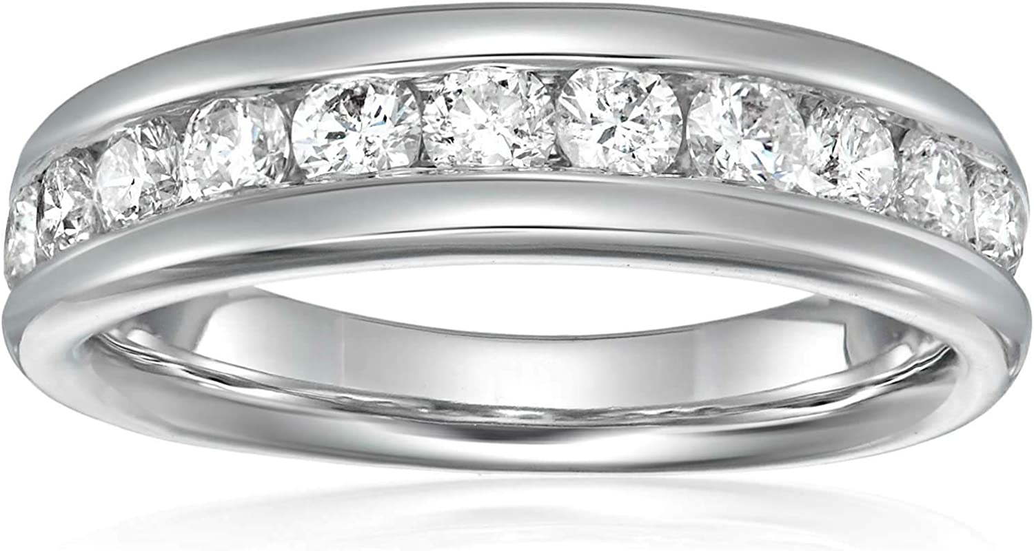 Vir Jewels 1/2 cttw Comfort Fit Diamond Wedding Band in 14K White Gold Channel