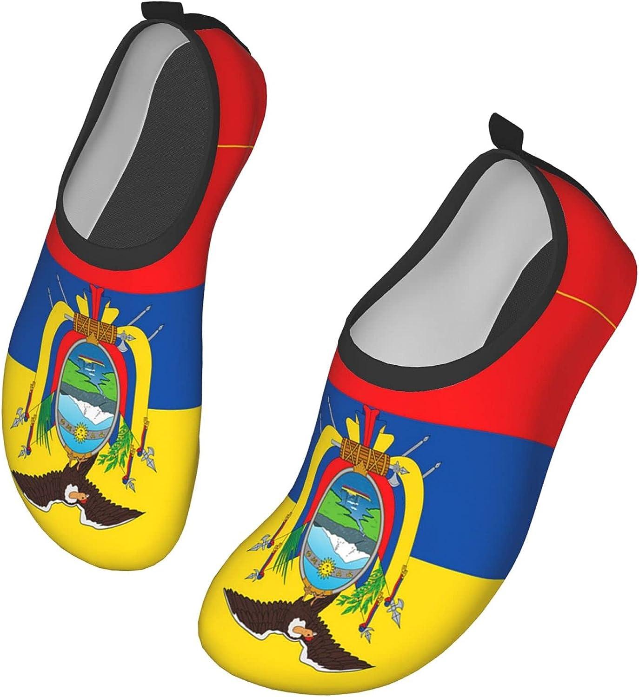 VEIMER Flag Ecuador Water Shoes for Women Men Outdoor Beach Swimming Aqua Socks Barefoot Quick-Dry Slip-on Surfing Yoga Shoes