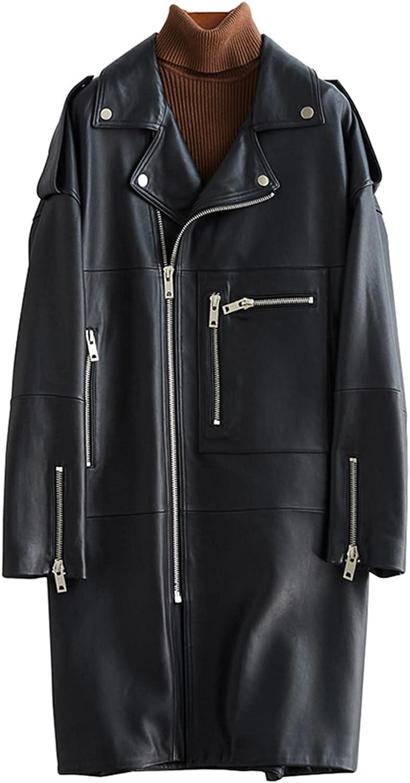Dedication Autumn Oversized Black Long Womens Leather Sleeve Jacket Si depot