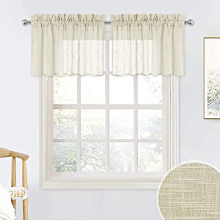 RYB HOME Semi Sheer Tiers Pleated Rod Pocket Window Topper Linen Textured Fabric Window Dressing for Kitchen, Kids Room Short Drapes, Warm Beige, W 52 x L 18 Each Panel, Set of 2