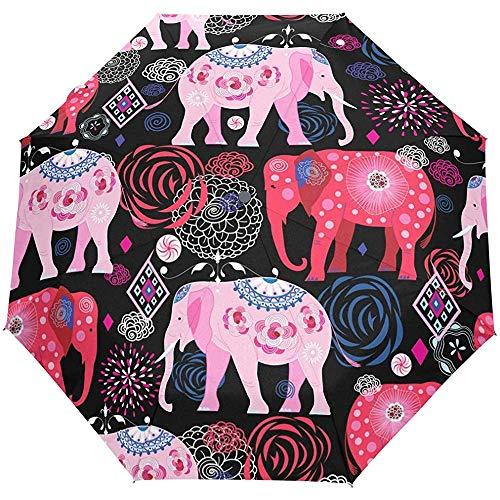 Weinlese-Elefant-Mandala-Blumenblumen-ethnischer offener Selbstregenschirm-Sonnenregenschirm Anti-UV, der kompakten automatischen Regenschirm faltet