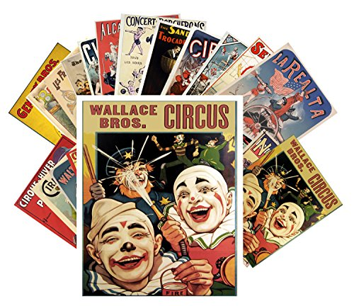 24 Postkarten Vintage Circus Clowns and Athletes Vintage Posters