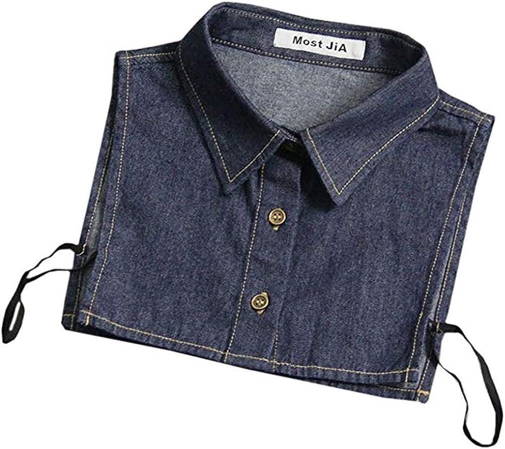 LANGUGU Unisex Stylish Detachable Half Shirt Blouse False Collar Blue Denim Fake Collar Peter Pan Dickey Collar