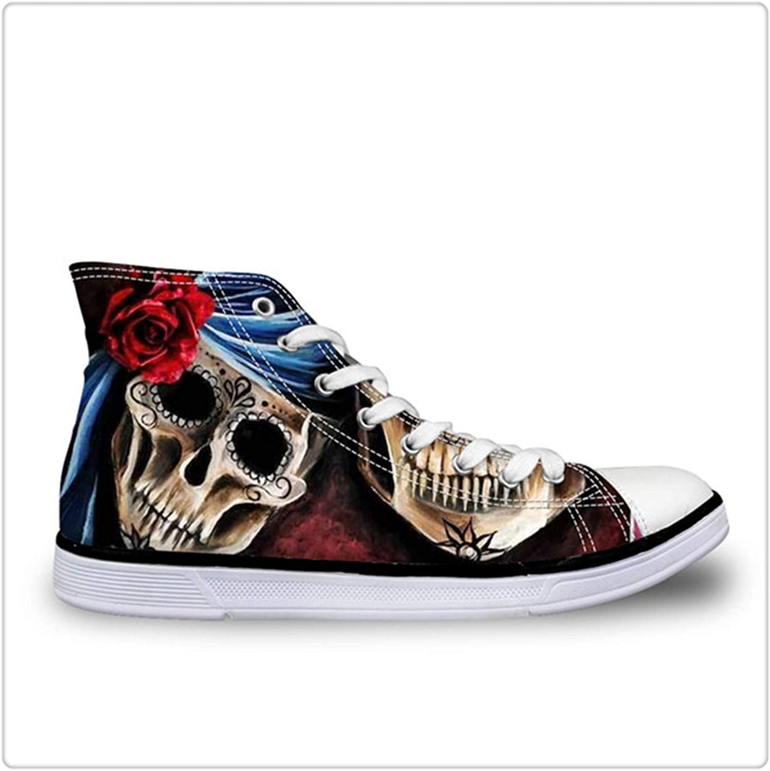 NNHLPO& Punk Skull Flower Women High-top Canvas shoes Lace Up Flat Female Casual Vulcanize shoes Ladies Hip Hop Daily shoes C638AK 40