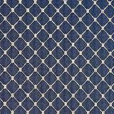 B645 Navy Blue Diamond Jacquard Woven Upholstery Fabric by The Yard