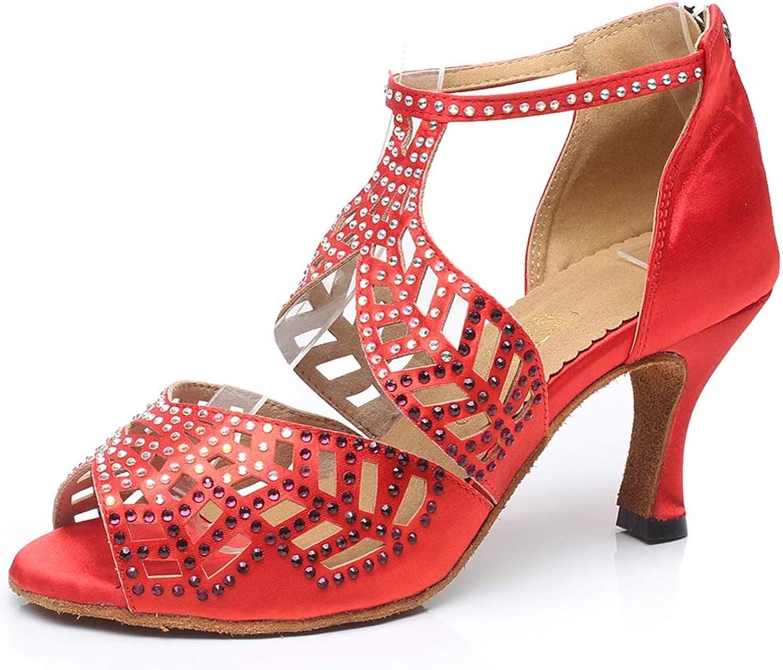 JRYYUE Tanzschuhe für Damen Lateinische Rhinestones Satin T-strap Dance Schuhe Rom Schnalle Hoher Absatz 7.5CM