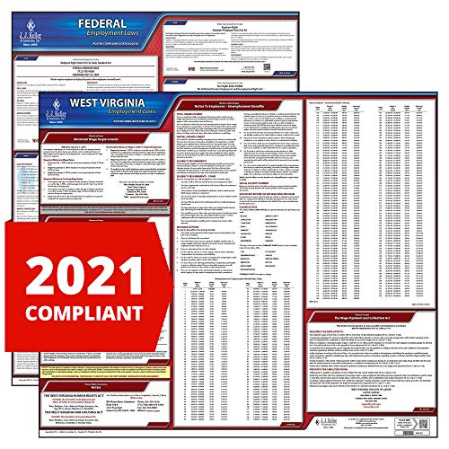 2021 West Virginia State and Federal Labor Law Poster Set (English, WV State) - OSHA Compliant Laminated Posters - J. J. Keller & Associates