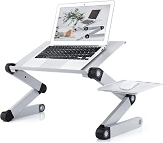 Laptop Table Stand for Bed,RAINBEAN Portable Vented Lap Desk Adjustable Notebook Riser with Mouse Pad Side,Work from Home,...