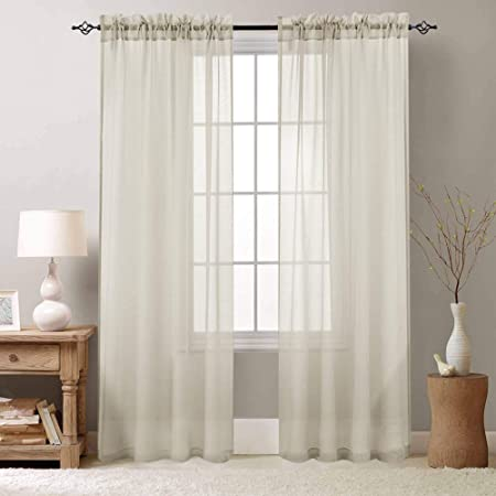 Sheer Curtains 84 inch for Bedroom Rod Pocket Window Treatment Curtain for Living Room Voile Drapes 2 Panels Nature