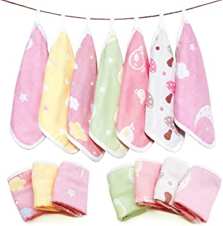 7 Pack Baby Burp Cloths, Maveek 6 Layer Cotton Gauze Washcloths Handkerchief Scarf Saliva Wipes, Easy-Washing & Reusable Nursing Towel for Toddlers Girls(7 Colors)