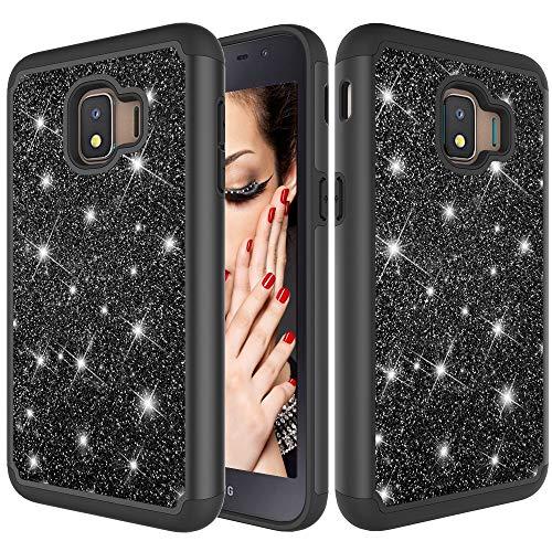 YUNCHAO Funda Protectora Glitter Powder Contrast Skin Funda Protectora de Silicona + PC a Prueba de Golpes for Galaxy J2 Core 2018 Caja del teléfono Celular (Color : Black)