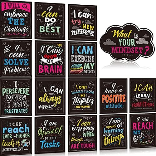 Set de 17 Pósteres de Mentalidad de Crecimiento Adorno de Exhibición de Tablón de Anuncios Póster de Conciencia Positiva Paquete de Póster Inspirador de Aula con Pegamento (Estilo Elegante)