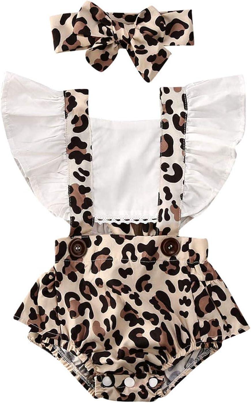 Baby Girl Atlanta Luxury goods Mall Leopard Romper Ruffle Backless Jumper Sleeve Bodysuit