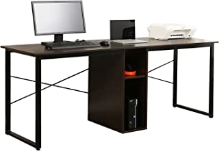 Soges 2-Person Home Office Desk,78 inches Large Double Workstation Desk, Writing Desk with Storage, Black HZ011-200-BK