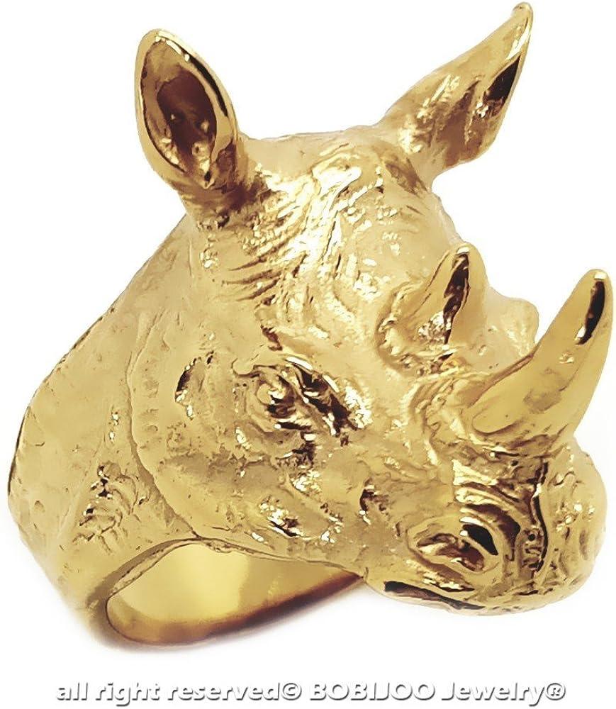 BOBIJOO Jewelry Bague Chevali/ère Homme T/ête de Rhinoc/éros Sagesse Totem Voyageur Acier 316L Or