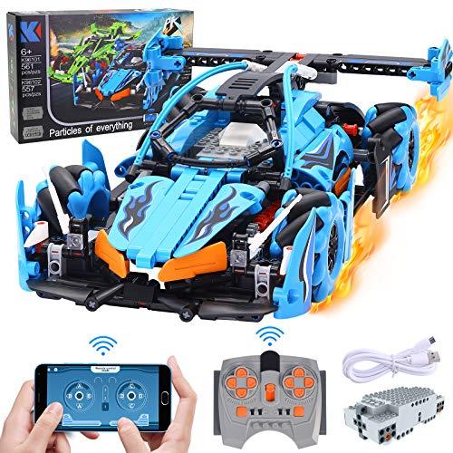 Baustein Auto, STEM 4WD APP & Ferngesteuerter Driftauto Spielzeug mit 360 °Drehung, 557PCS 2,4GHz RC Auto mit programmierbar & Timer-Funktion, Rennwagen Konstruktionsspielzeug Baukasten für Kinder