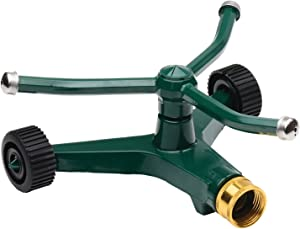 Melnor Metal Revolving Sprinkler; 3-Arm Rotary with Wheeled Base , Green , 45' - 7000