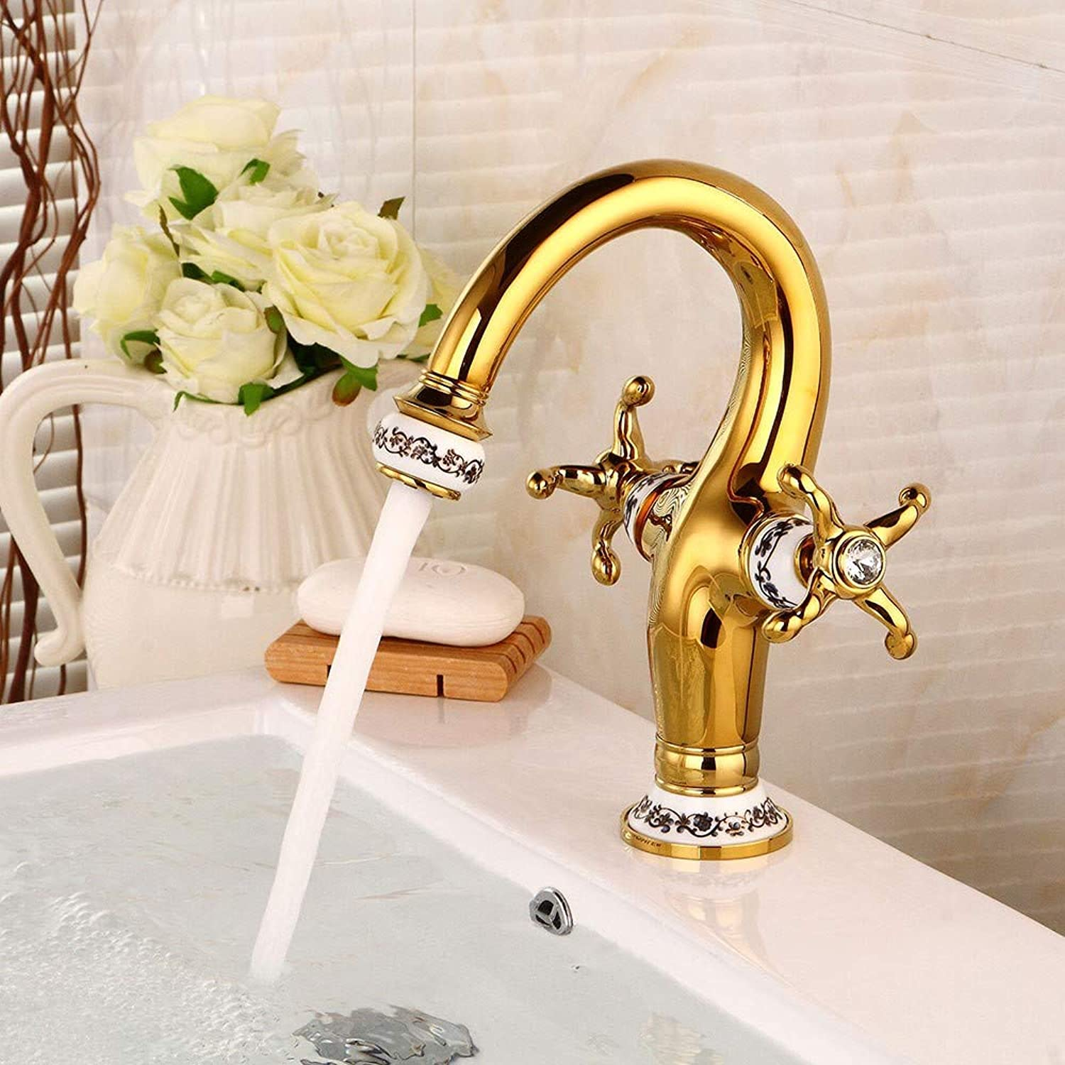 Bionmceu Bathroom Sink Taps Creative gold Mirror Effect Modern Ceramic Brass Mixer Double Handle Faucet Curved Mouth Hot And Cold Water Mixing Faucet