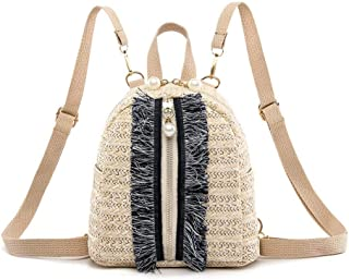 chinatera Straw Backpack Women Mini Backpack for School Travel Shoulder Bag Straw Shoulder Crossbody Bags