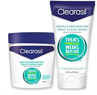 Clearasil Gentle Prevention Daily Acne Kit With Oil-Free Facial Cleansing Pads 90 ct & Clean Face Wash 6.5 oz - 1 ea