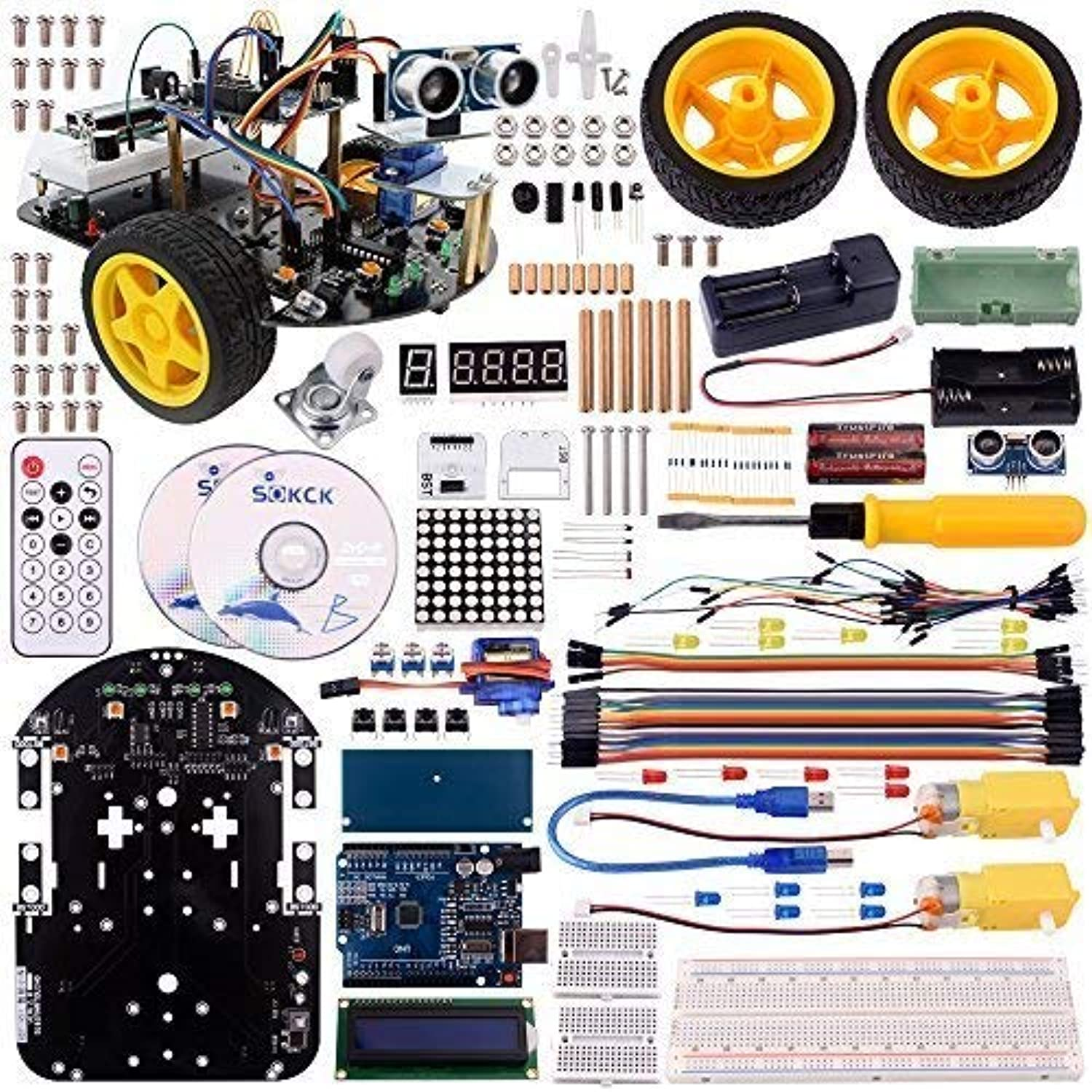 Kuman Arduino Robot Car Kit with Video Toturials,Uno R3 2 Wheels with blueetooth Module, Line Tracking Module,Ultrasonic Sensor