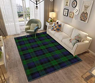 Area Rug and Carpet for Home Living Room, 00267 Grant Hunting or Black Watch Military Tartan Large Anti Slip Contemporary ...