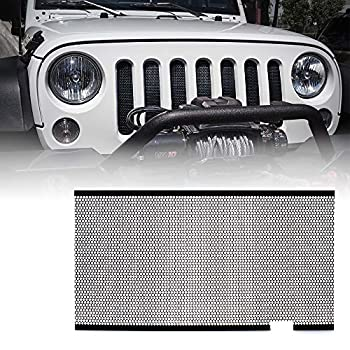 Xprite Black Aluminum Alloy Mesh Insert for Jeep Wrangler JK JKU 2007-2018 Original Front Hood Matte Grill Grille Grid