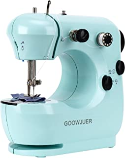 GOOWJUER Portable Sewing Machine, Mini Electric Sewing Machines with Extension Table, Household Lightweight Hand Sewing Machine for Beginners Tailors/Arts/Crafting (Blue)